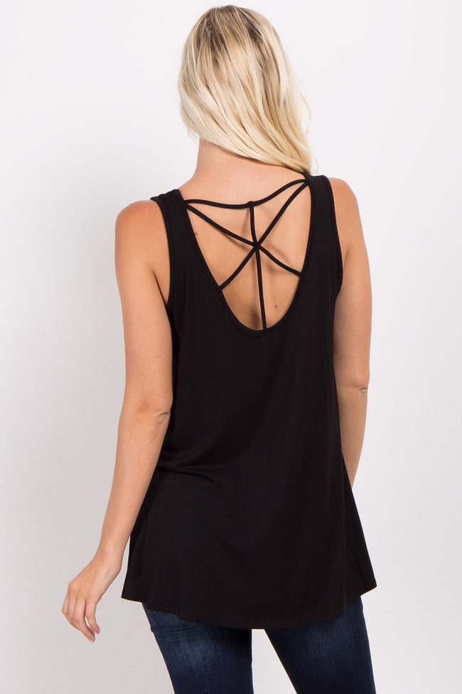 Black Strappy Back Tank Top