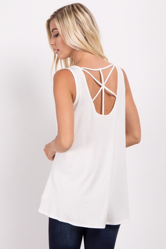 Ivory Strappy Back Tank Top