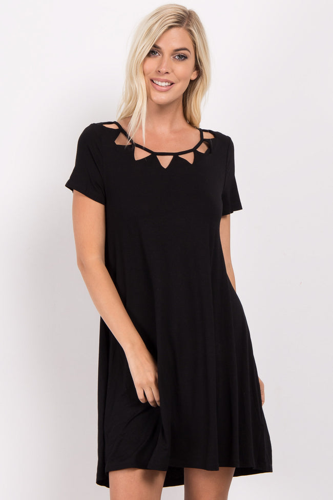 Black Solid Cutout Accent Maternity Shift Dress