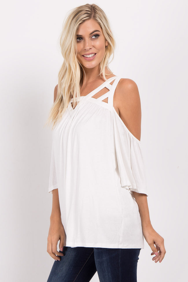 Ivory Cutout Cold Shoulder Top
