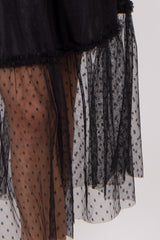 Black Tulle Polka Dot Midi Skirt