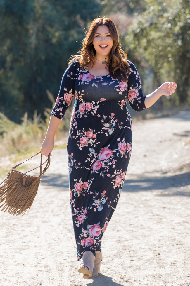 Navy Blue Rose Floral Plus Maternity Maxi Dress