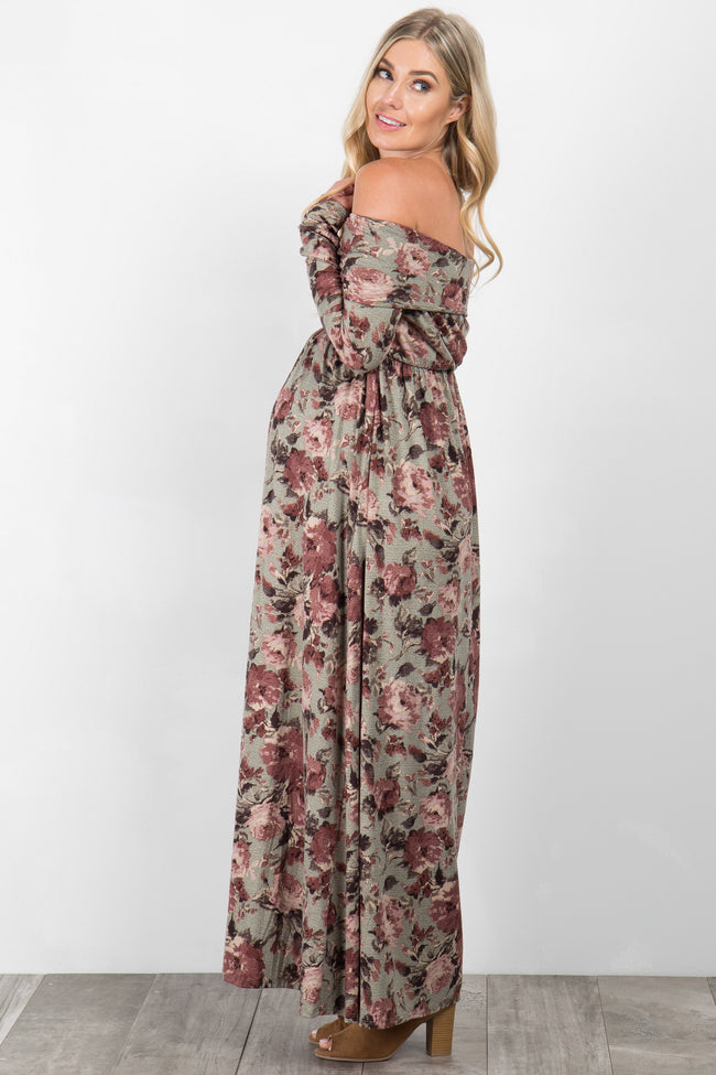 Sage Printed Floral Off Shoulder Foldover Maternity Maxi Dress
