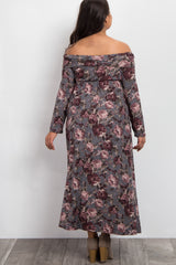 Grey Printed Floral Off Shoulder Foldover Plus Maternity Maxi Dress