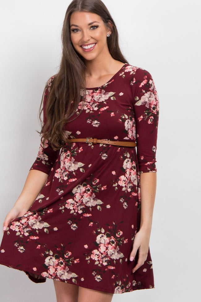 Burgundy Floral Belted Maternity Dress