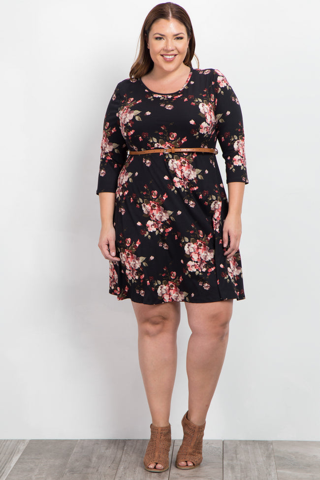 Black Floral Belted Plus Dress