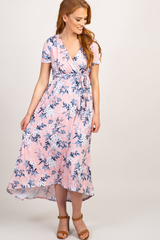 Pink Floral Hi-Low Sash Tie Maxi Dress