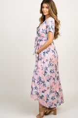 Pink Floral Hi-Low Sash Tie Maternity Maxi Dress