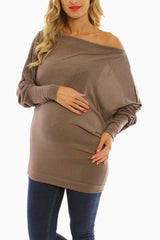 Mocha Off Shoulder Long Sleeve Maternity Shirt