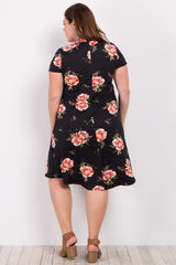 Black Floral Mock Neck Plus Midi Dress