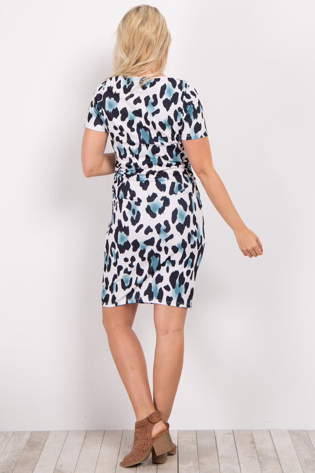 Ivory Cheetah Print Fitted Maternity Dress