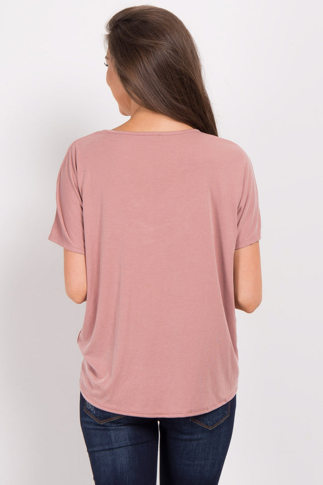 Mauve Knot Front Ribbed Top