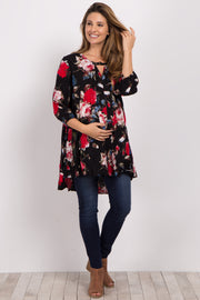 Black Floral Cutout Long Sleeve Maternity Tunic