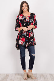 Black Floral Cutout Long Sleeve Tunic