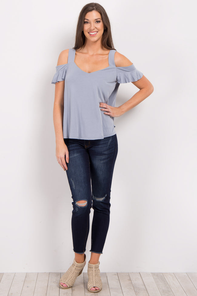 Blue Solid Open Shoulder Top
