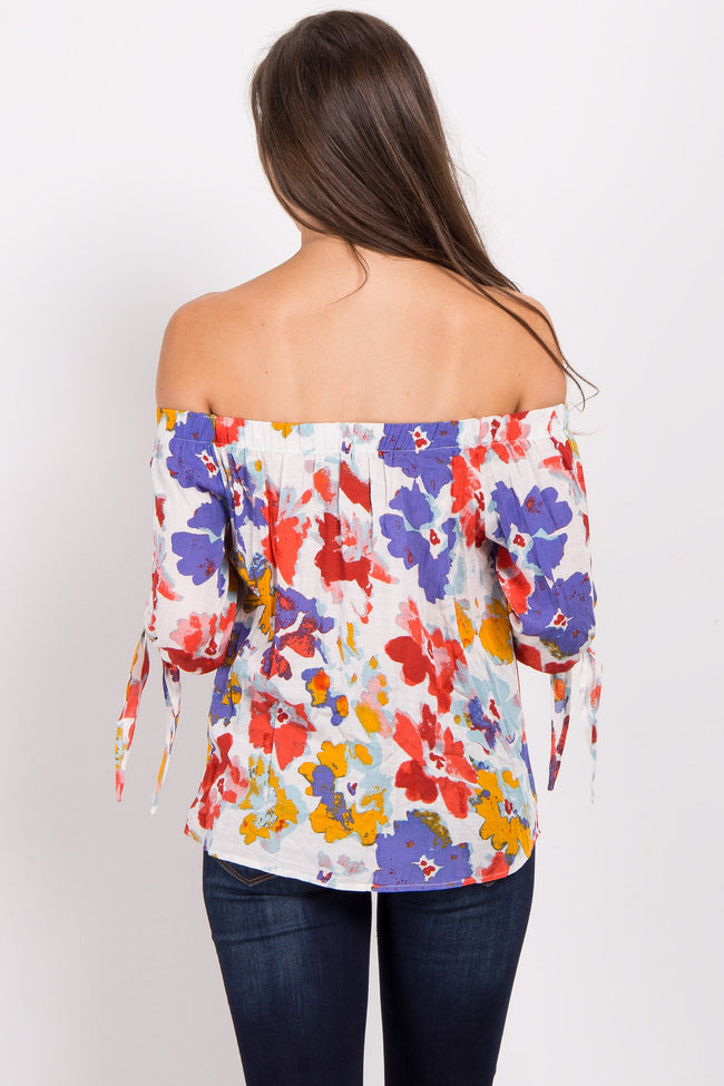 Ivory Abstract Floral Off Shoulder Top
