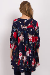 Navy Blue Floral Cutout Long Sleeve Maternity Tunic