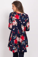 Navy Blue Floral Cutout Long Sleeve Tunic