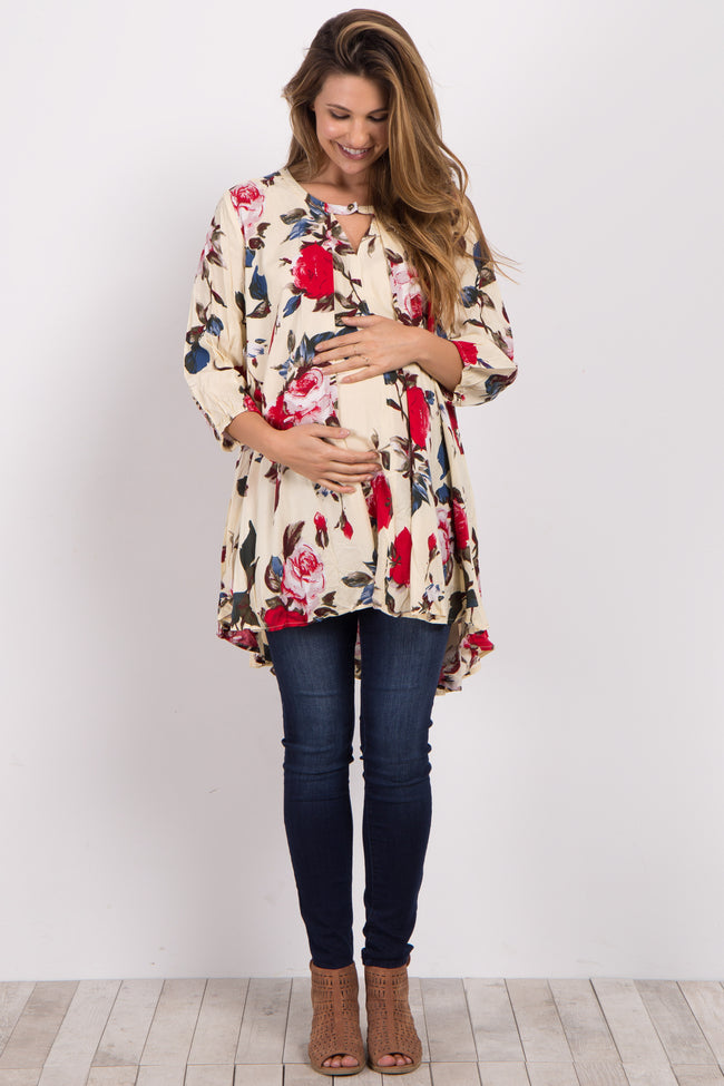 Ivory Floral Cutout Long Sleeve Maternity Tunic