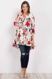 Ivory Floral Cutout Long Sleeve Tunic