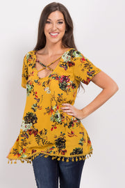 Yellow Floral Cross Front Tassel Top