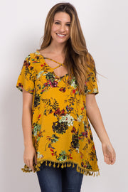 Yellow Floral Cross Front Tassel Maternity Top