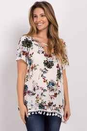 Ivory Floral Cross Front Tassel Maternity Top