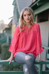 Coral Crochet Lace Top Maternity Blouse