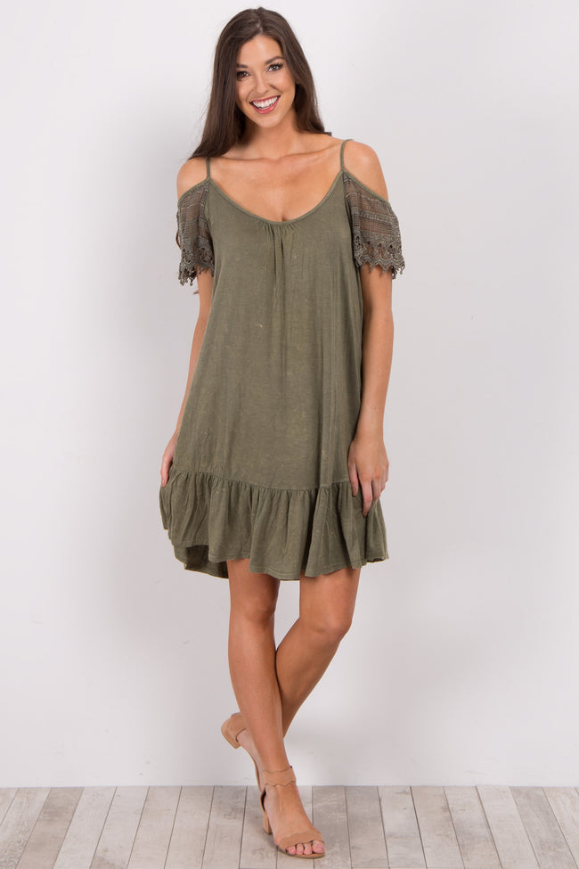 Olive Crochet Sleeve Cold Shoulder Maternity Dress