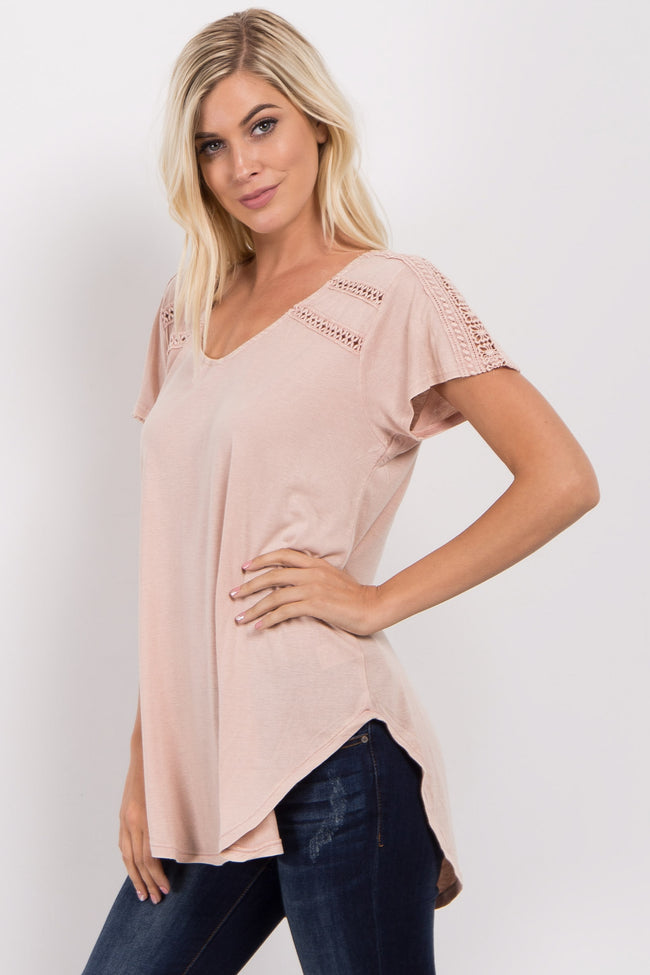 Light Pink Faded Crochet Accent Top