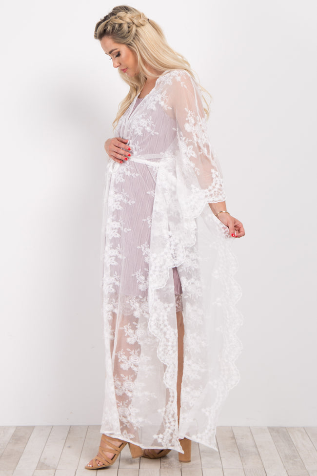 Ivory Scalloped Lace Long Maternity Kimono