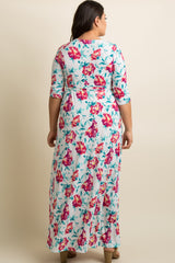 Ivory Floral Sash Tie Wrap Plus Maxi Dress