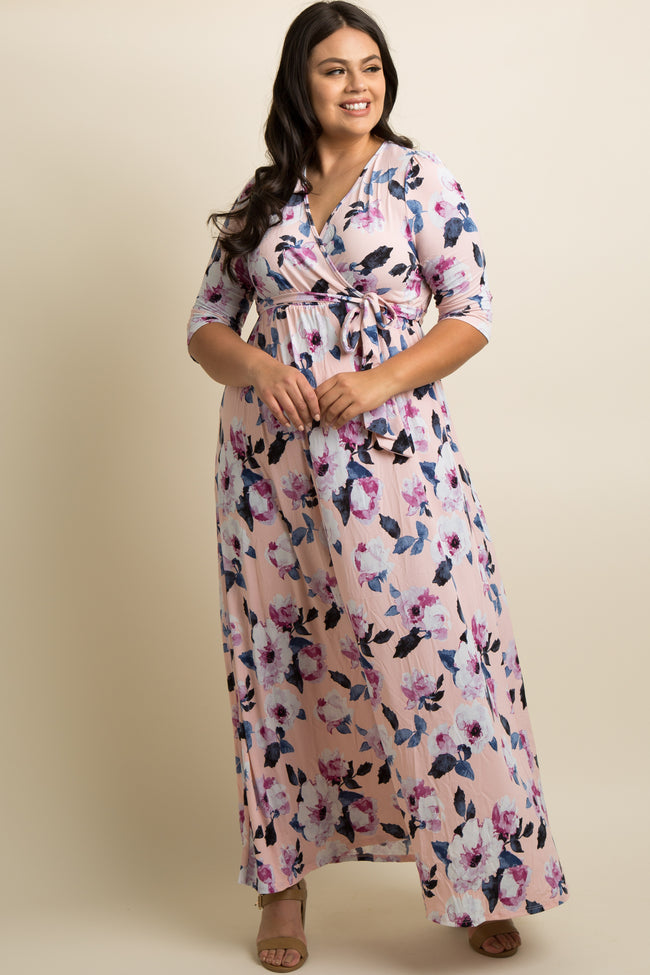 Pink Floral Plus Maternity/Nursing Wrap Maxi Dress