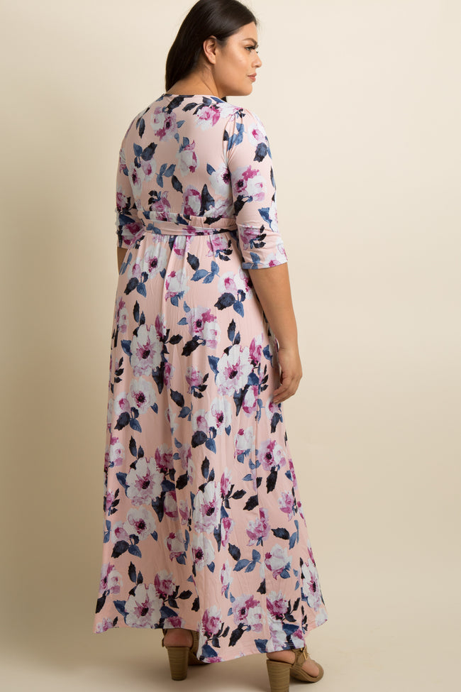 Pink Floral Plus Wrap Maxi Dress