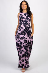 Purple Rose Floral Sleeveless Maternity Maxi Dress