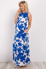 Blue Rose Floral Sleeveless Maternity Maxi Dress