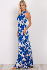 Blue Rose Floral Sleeveless Maxi Dress
