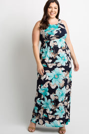 Mint Green Floral Sleeveless Plus Maxi Dress