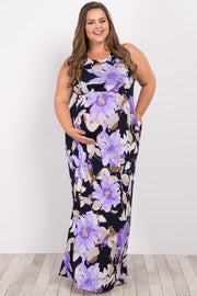 Lavender Floral Sleeveless Plus Maternity Maxi Dress