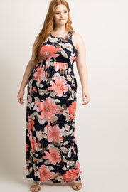 Peach Floral Sleeveless Plus Maxi Dress