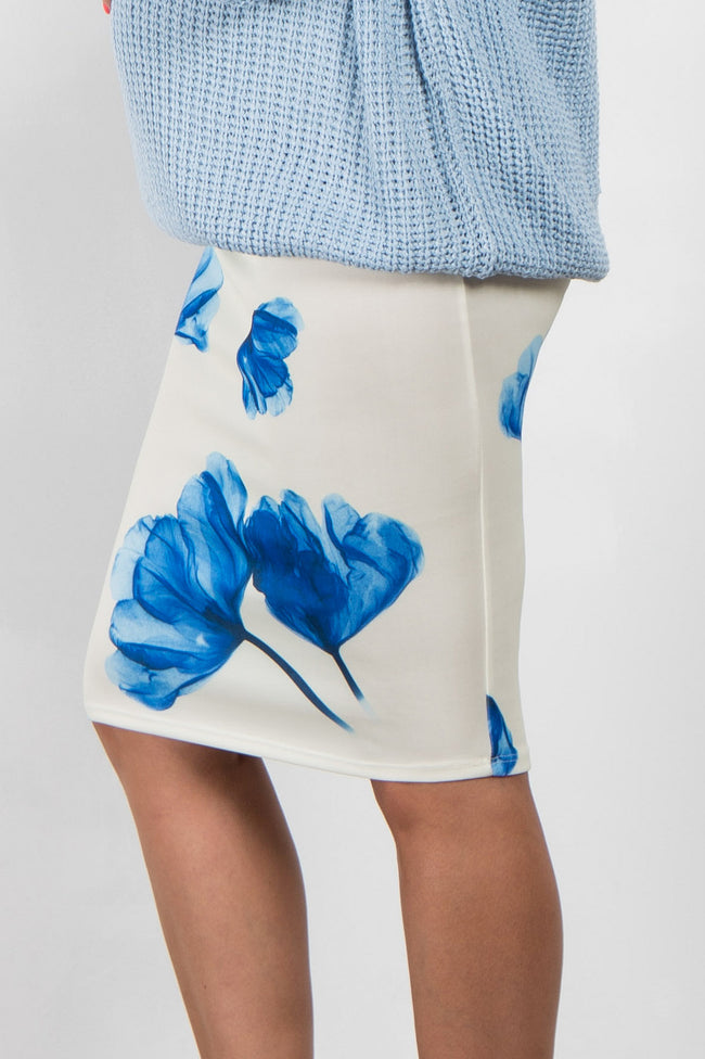 Blue Floral Maternity Pencil Skirt