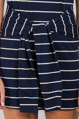 Navy Blue Striped Fitted Mock Tie Dress