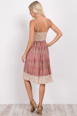 Pink Printed Sweetheart Neckline Dress