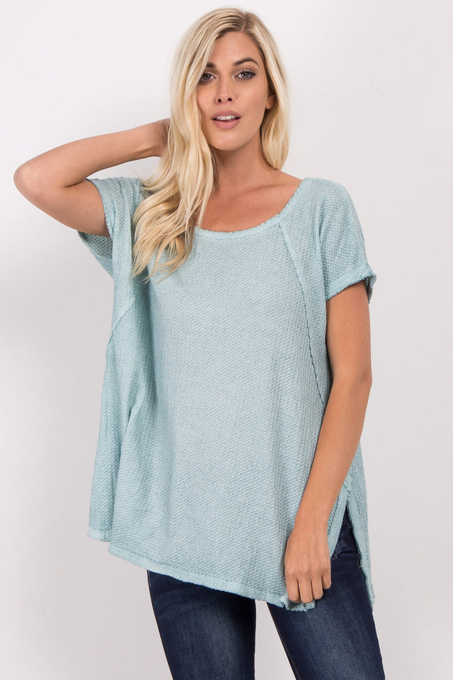 Blue Short Sleeve Knit Maternity Top