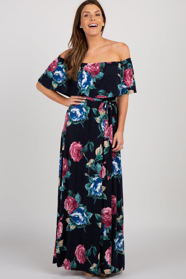 Navy Blue Floral Off Shoulder Sash Tie Maternity Maxi Dress