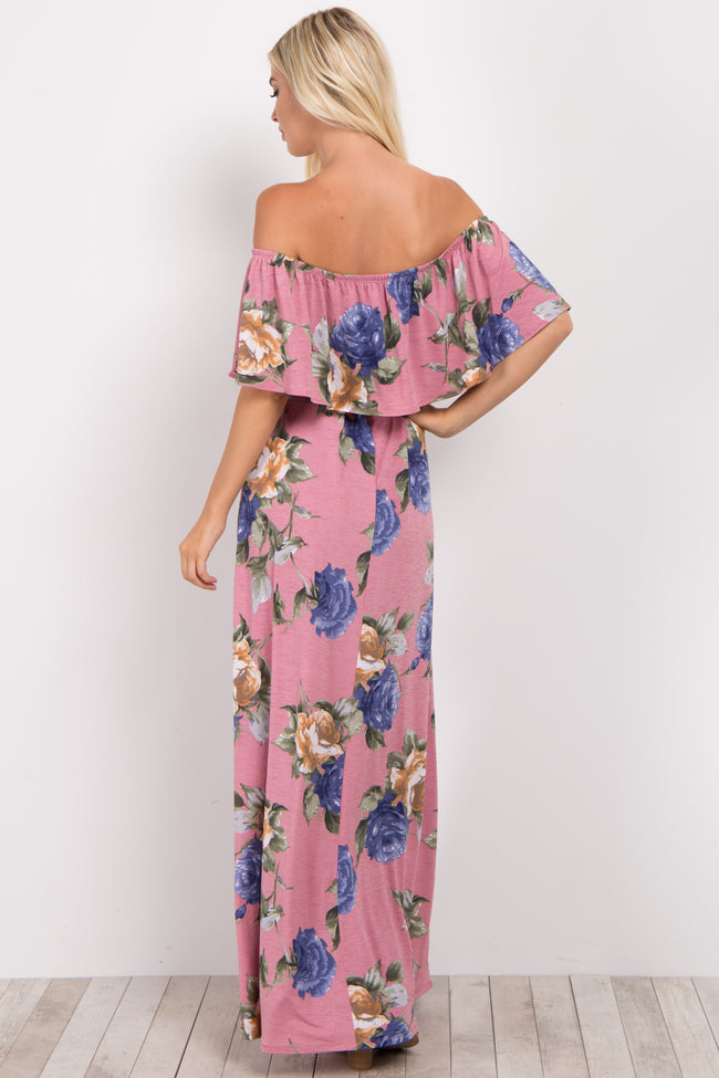Pink Floral Off Shoulder Sash Tie Maxi Dress