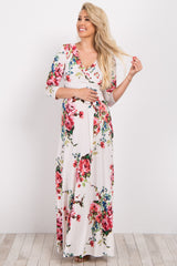 Ivory Rose Floral Maternity/Nursing Wrap Maxi Dress