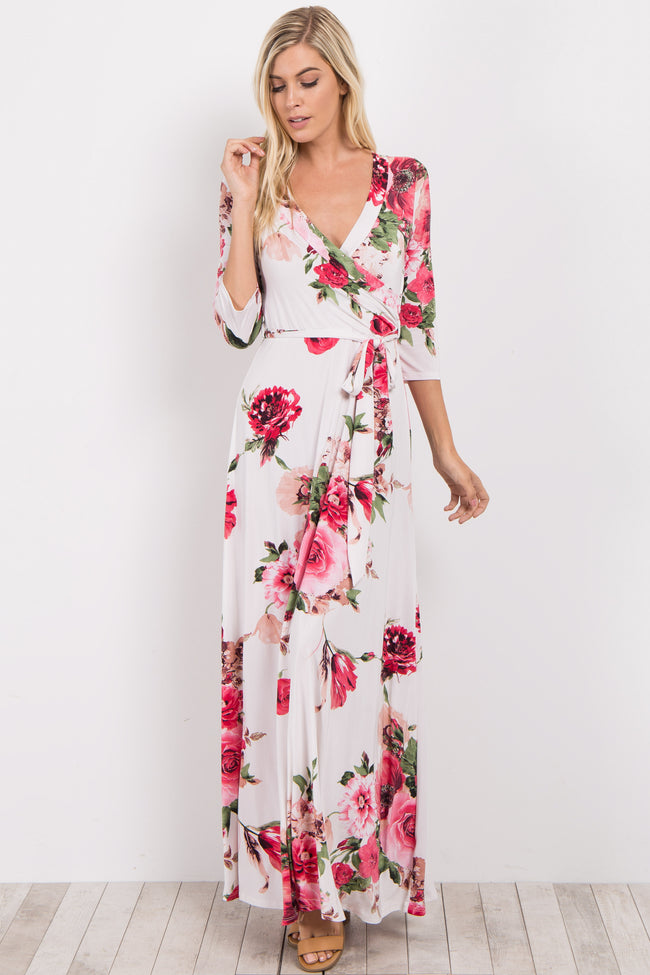 Ivory Floral Sash Tie Maternity/Nursing Maxi Dress
