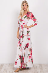 Ivory Floral Sash Tie Maxi Dress