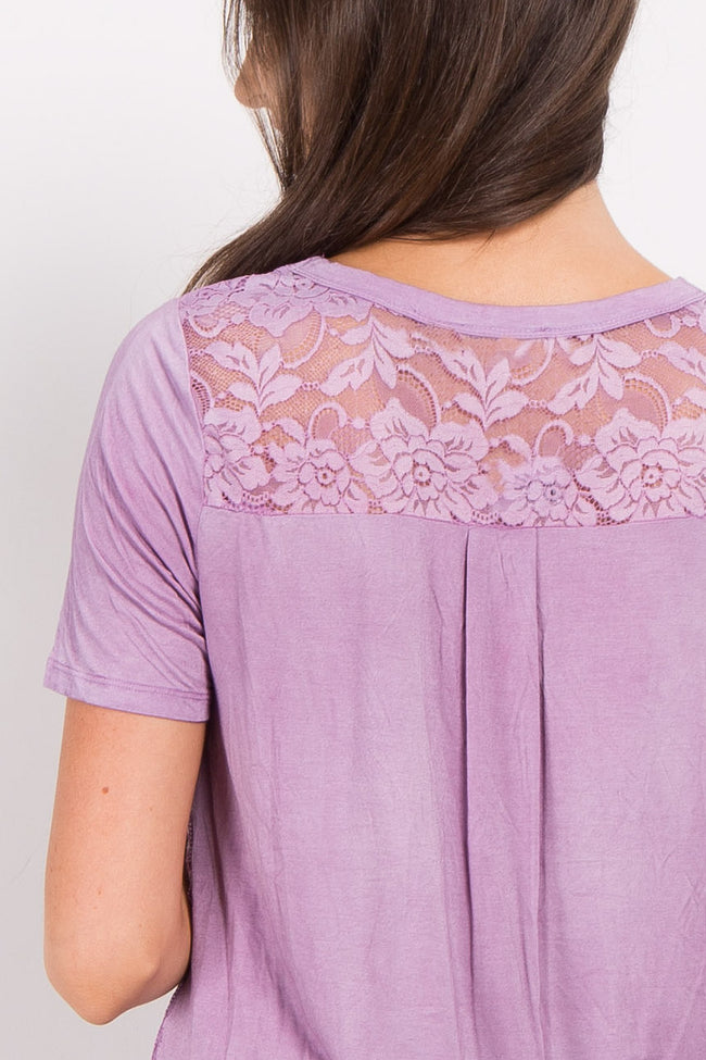 Lavender Solid Lace Accent Top